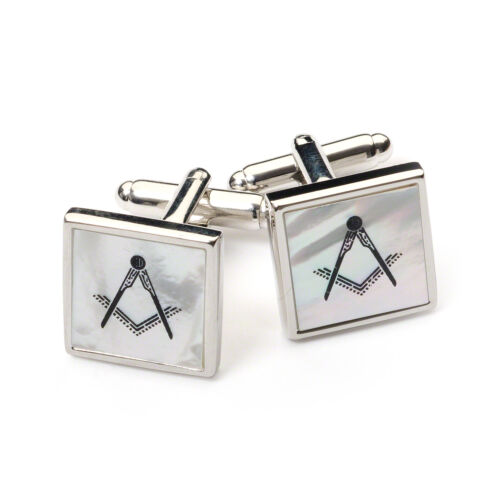 Stunning Masonic Mother of Pearl Cufflinks Silver Rhodium Plated Gift