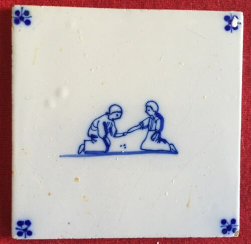 Antique 18th / 19th century Delft Tin Glazed Landscape Tile Blue & White Marbles