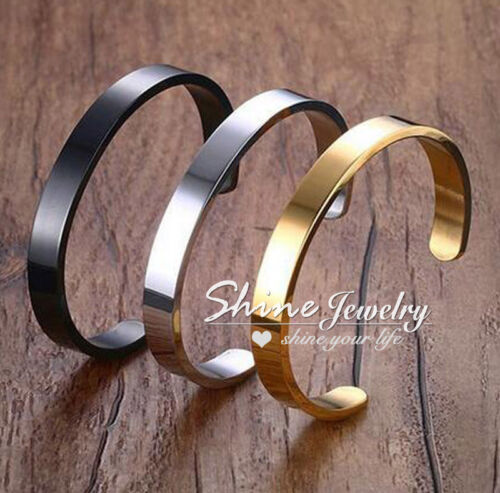 SOLID STAINLESS STEEL PLAIN POLISHED ENGRAVABLE GOLD MENS BRACELET CUFF BANGLE