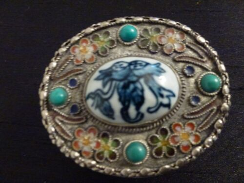 Vintage Ornate Silver Trinket Jewelry Box, Porcelain, Turquoise Stones, Chinese