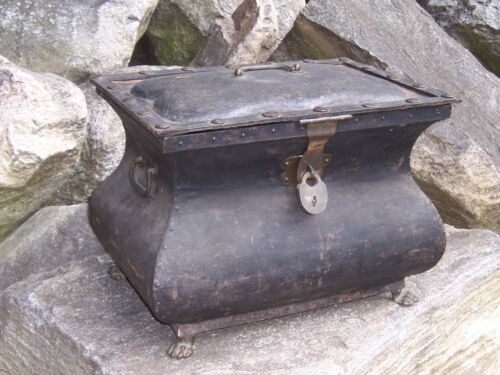 Gothic Victorian Chest w/ Lock Chest Trunk Brass Hardware and Feet Old