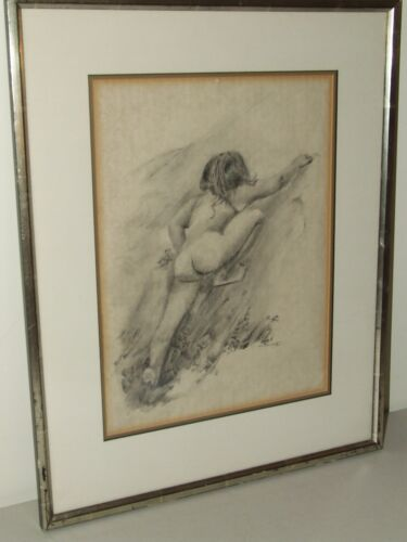 """Vintage """"Framed & Matted"""" Signed Nude Female Figural Drawing by Sherri Kaitz"""