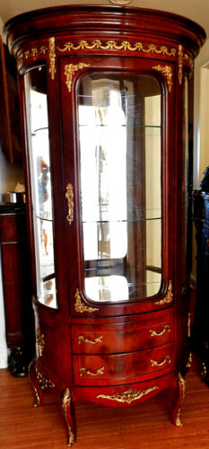 Gorgeous French Louis Style Vitrine Showcase Display Cabinet, Mirror Back & Base