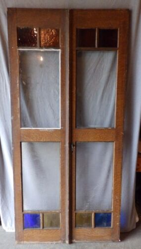Pair Antique French Doors Stained Privacy Glass Shabby Old Vtg Chic 1667-16
