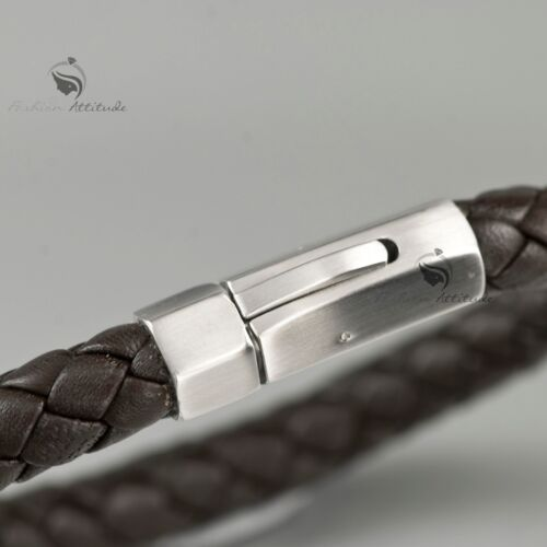 Silver bracelet Genuine Leather Chocolate stainless steel special design