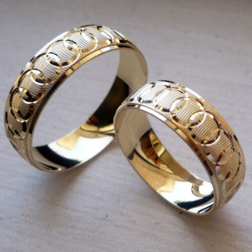 14K SOLID YELLOW GOLD HIS AND HER WEDDING BAND RING SET SZ 5-13 FREE ENGRAVING