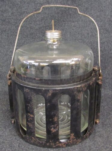 ANTIQUE KEROSENE oil stove FUEL Duraglas BOTTLE JUG W/CAGE&PUSH STEM (AB-363)