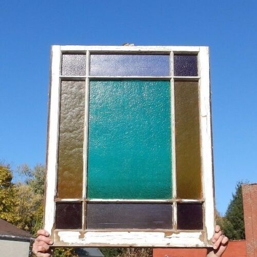 Antique Stained Glass Window Shabby Cottage Vintage Chic 1874-16
