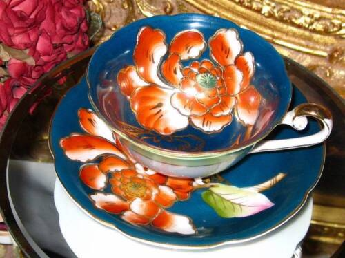 Occupied Japan 3 FOOTED ORANGE FLORAL ETCH GOLD Tea Cup and Saucer Trimont China