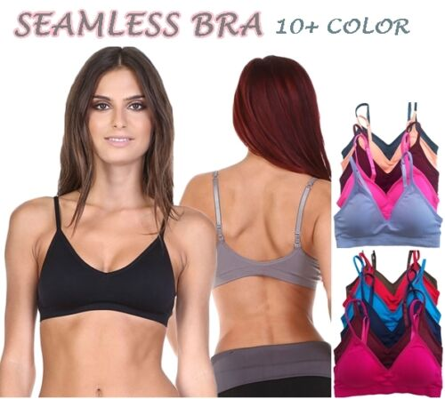 Seamless Plunge V SPORTS BRA Bralette Crop Tank Top Light Pad Bra Yoga Workout