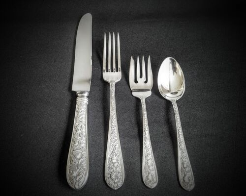 RARE 4pc DINNER SIZE PLACE SETTINGS CORSAGE BY STIEFF STERLING SILVER 6 IN STOCK
