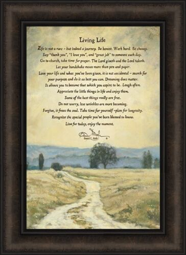 LIVING LIFE by Bonnie Mohr 16x22 Trees Inspirational Quote FRAMED ART PICTURE