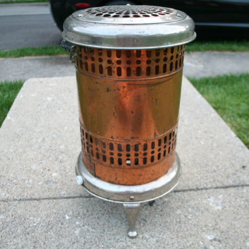 Antique Rome Electric Heater Brass Copper Nickel Plate Vintage Patina