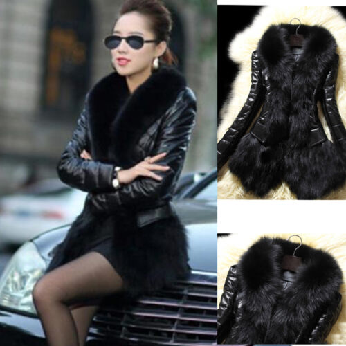 Winter Womens Warm Fur Collar Cardigan Coat Leather Thick Jacket Overcoat Parka
