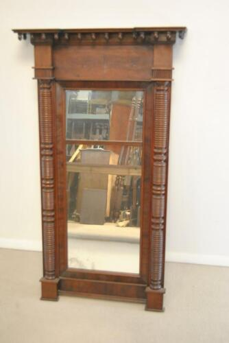 """ANTIQUE AMERICAN FEDERAL STYLE FLAMED MAHOGANY MIRROR, 49"""" Tall"""