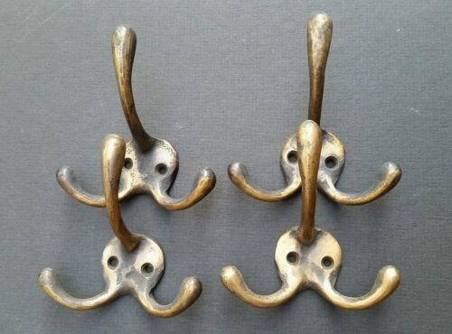 "4 Solid Antique Style Brass Triple Coat Hat Towel Hooks  3 1/4"" x 3""  #C2"