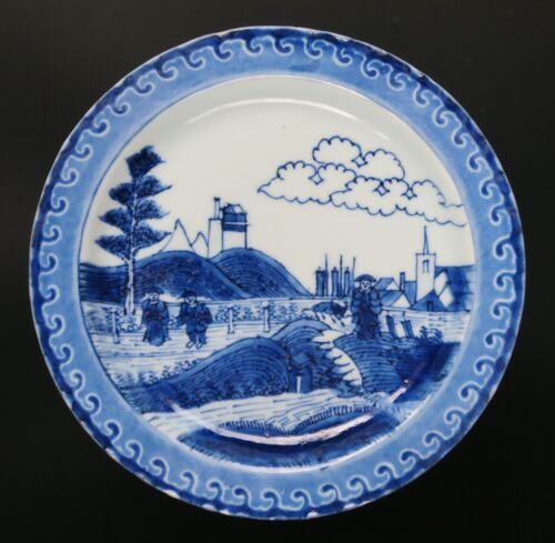 A good and rare Chinese export Kangxi porcelain view on Schevingen dish, 1700..