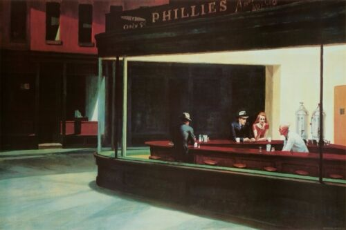 Edward Hopper Nighthawks Art Print Poster Home/Office Decoration 24x36 inch