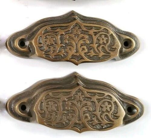 """2 brass Ornate Apothecary cabinet drawer bin cup pull Handles 3 9/16"""" #A4"""