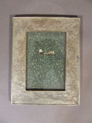 ANTIQUE ORNATE COPPER ON SILVER TONE PICTURE FRAME WITH TREE & STREAM