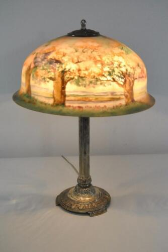 SIGNED ANTIQUE PAIRPOINT REVERSE PAINTED LAMP WITH CHERRY BLOSSOMS & TREES