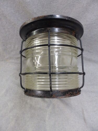Large Vtg Nautical Porch Ceiling Light Fixture Thick Heavy Glass Shade 2365-16