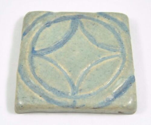 Antique Arts and Crafts Grueby Style Pottery Tile Blue