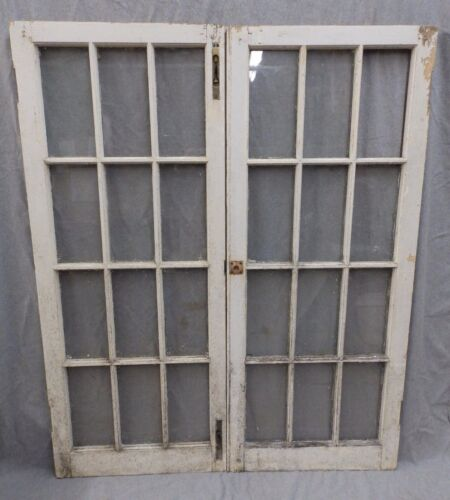 Pr Antique Casement Windows Cabinet Door Kitchen Shabby Cottage Chic 1125-16