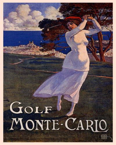 POSTER MONTE CARLO GOLF COURSE WOMAN PLAYING SPORT TRAVEL VINTAGE REPRO FREE SH