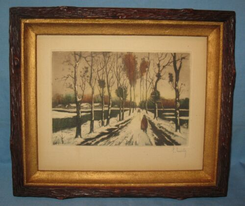 ANTIQUE CARVED TREE-BARK WALNUT VICTORIAN FRAME w/ENGRAVED TINTED PRINT FRANCE