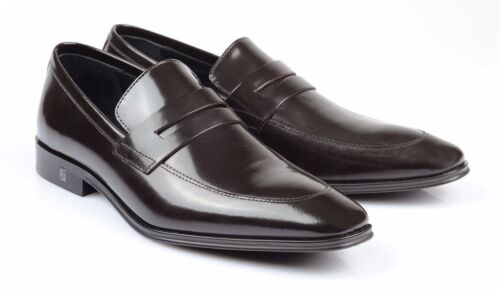 Versace Collection brown Patent Leather slip on Dress Shoes Loafers V233 new