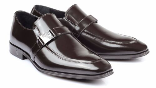 Versace Collection brown Patent Leather Dress Shoes Loafers V323 new