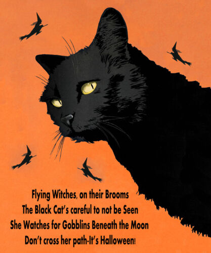 Halloween Black Cat Flying Witches  Vintage Poster Repro FREE S/H in USA
