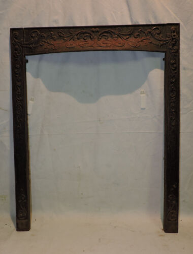 """ANTIQUE CAST IRON VICTORIAN HOODED FIREPLACE SURROUND FLORAL 24.5 X 30.25"""""""