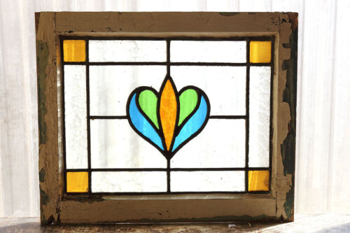 Antique Stained Glass Window Three color Art Nouveau Tulip                (3006)