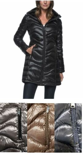 NEW Ladies' Andrew Marc Long Hooded Down Puffer Jacket - Wavy -