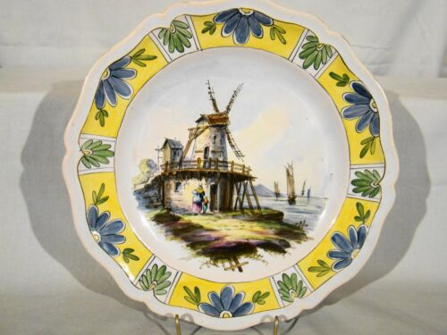 Antique 19th c Sceaux French Faience Hand Painted Plate