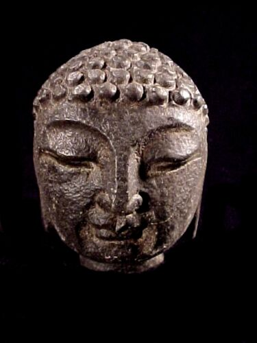 """Carved Stone Head 2 3/4"""" Buddha Bust Authentic Rock Sculpture Paperweight #E-6"""