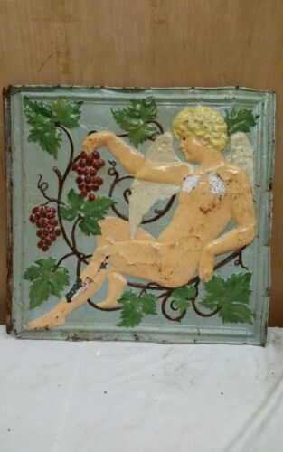 "24"" x 24"" Antique Ceiling Embossed Tin Tile Vintage Cherub ,grapes RARE. (#3)"
