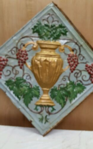 "24"" x 24"" Antique Ceiling Embossed Tin Tile with grapes and urn  RARE. (#3)"