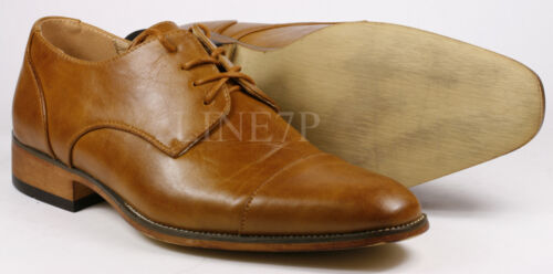 Men's Pre-Owned Rusty Brown Cap Toe Lace Up Fashion Oxford Dress Shoes