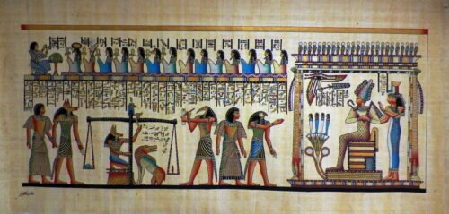 """Egyptian Papyrus  HandMade Painting size 60x120cm 24""""x48""""Judgement Day US #244"""
