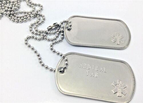 SET OF MEDICAL ALERT ARMY/MILITARY DOGTAG/S PERSONALISED WITH S/Steel Chain <br/> LIFETIME GUARANTEE TEXT& FREE TRACKING ON MULTIPLE SETS