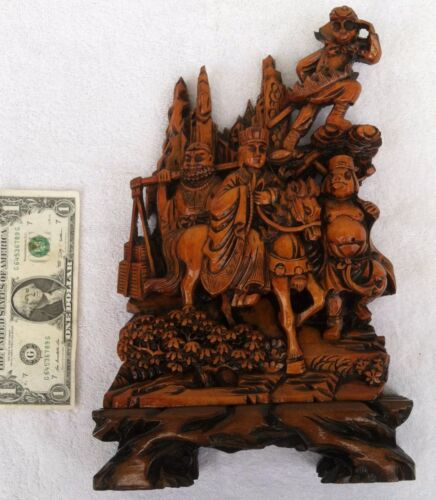 strange Early 20th C. CHINESE HAND CARVED WOOD troop of human animals imortals