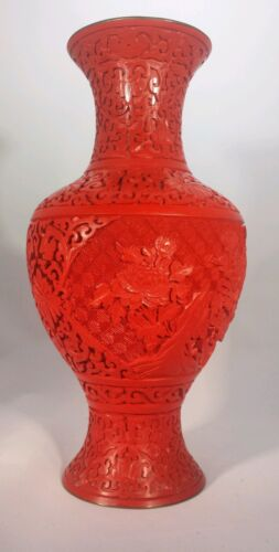 BEAUTIFUL!! Cinnabar Hand Carved Lacquer Vase