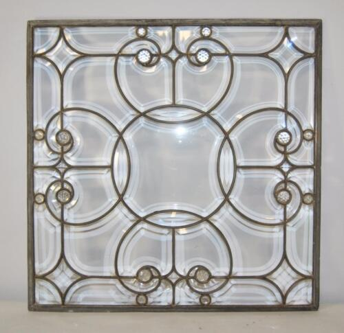 Antique Beveled Clear Glass Window with Jewels and Zinc Construction