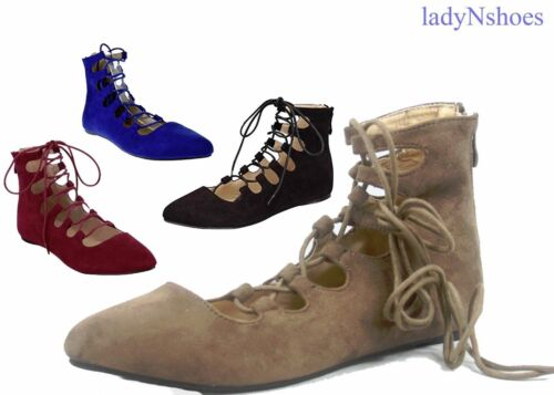 NEW Women's Faux Suede Pointed Toe Ankle Lace Up Flats Booties Shoes Size 6 - 10