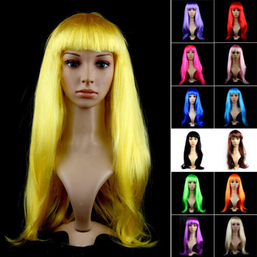 2017 Womens Lady Long Hair Wig Straight Synthetic Anime Cosplay Party Full Wigs