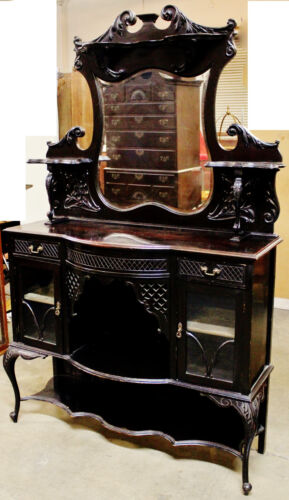 Gorgeous Antique Etagere Ebonized, Dark Mahogany Display China Cabinet