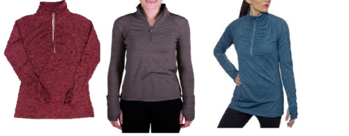 NEW Kirkland Signature Women's Active 1/4 Zip Ruffled Pullover - VARIETY